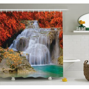 Scenery Autumn Leaves on Lake Single Shower Curtain