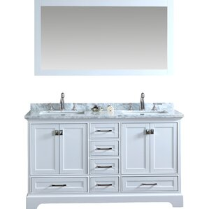 double bathroom vanity. 2 Piece Newport Mirrored Double Sink Bathroom Vanity Set Vanities  Joss Main