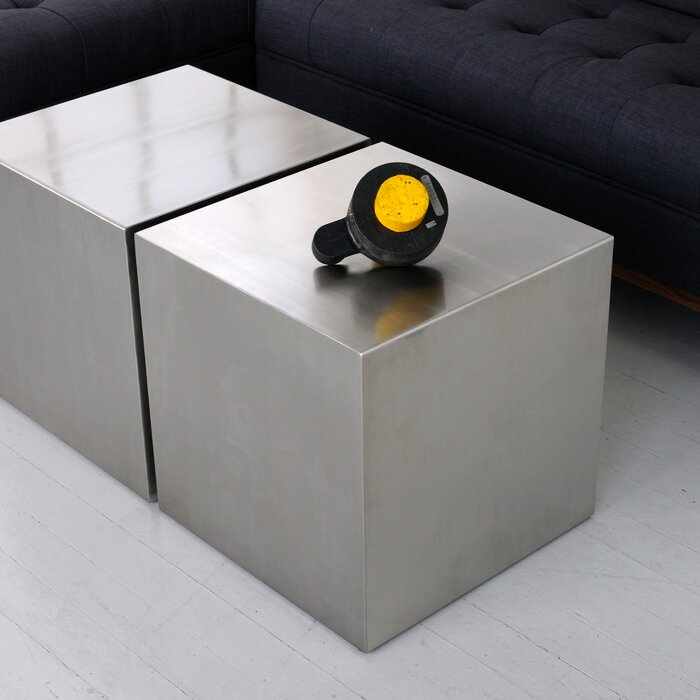 Stainless Steel Cube End Table