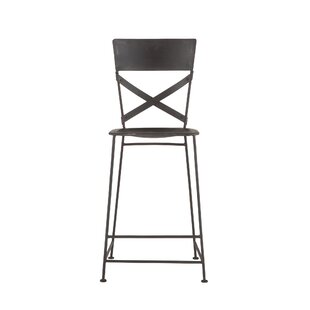 Christenson Hammered Iron Bar Stool by Gracie Oaks