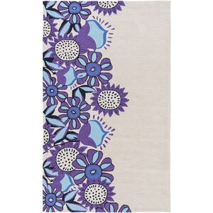 Cesar Hand-Tufted Neutral/Purple Area Rug