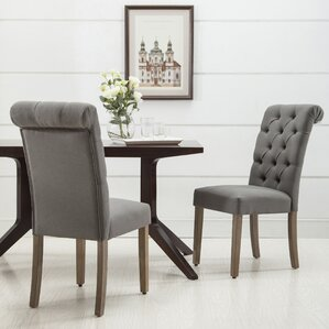 christies roll top tufted modern upholstered dining chair set of 2