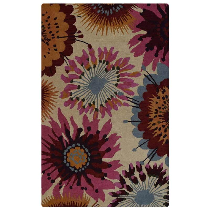 Ebern Designs Duechle Floral Handmade Tufted Wool Cream Area Rug
