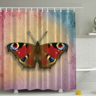 Vintage Butterfly Print Single Shower Curtain