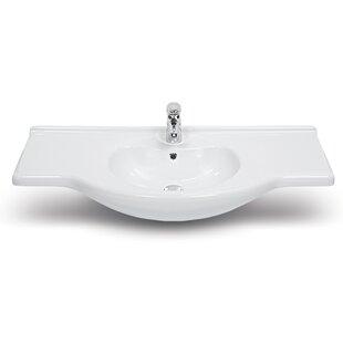 Compare Nil Ceramic Rectangular Drop-In Bathroom Sink with Overflow ByCeraStyle by Nameeks