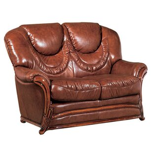 Doyle Leather Loveseat by Three Posts