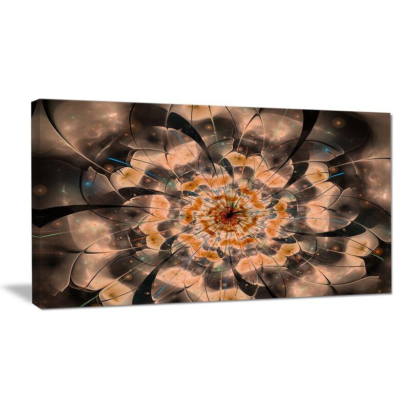 Designart Brown Fractal Flower Petals Close Up Graphic Art On Wrapped Canvas Wayfair