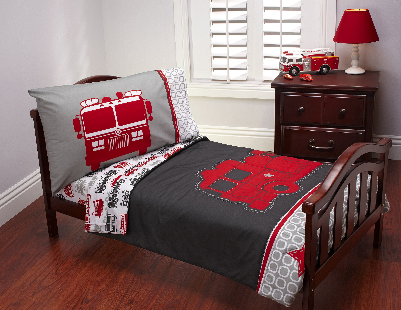 Fire Truck 4 Piece Toddler Bedding Set