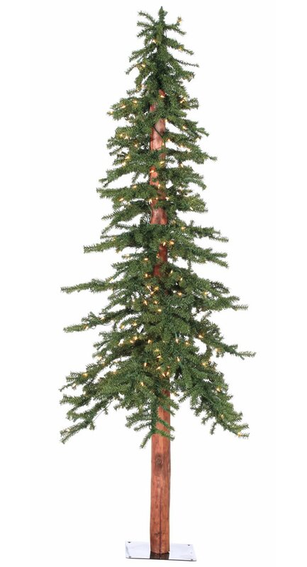 Natural Alpine 7' Green Pine Artificial Christmas Tree with 300 Clear  Lights with Stand - The Holiday Aisle Natural Alpine 7' Green Pine Artificial Christmas