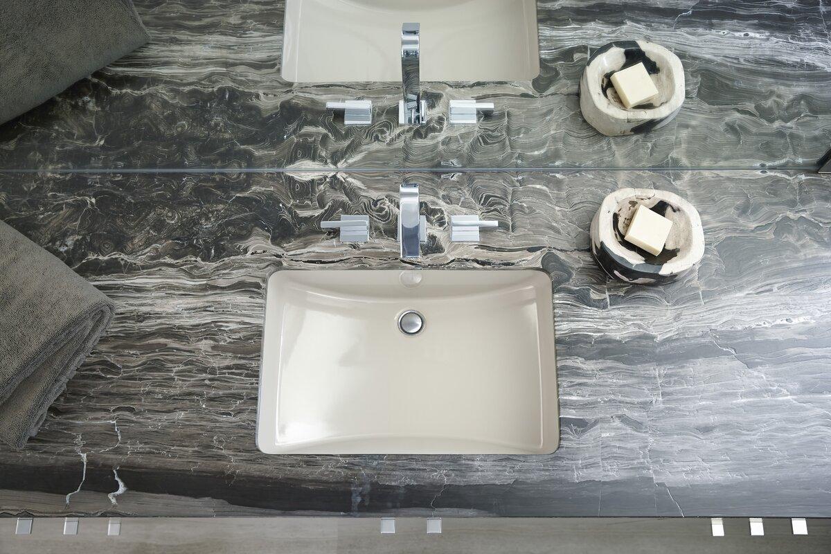 Ladena ceramic rectangular undermount bathroom sink with for Kohler ladena white undermount rectangular bathroom sink with overflow