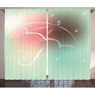 Maryrose Graphic Print and Text Semi-Sheer Rod Pocket Curtain Panels (Set of 2) by Latitude Run