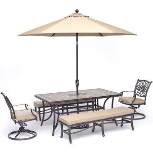 Bucci 5 Piece Dining Set with Umbrella