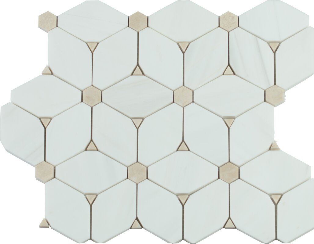 MSI Cecily Pattern Polished Marble Mosaic Tile in White Reviews
