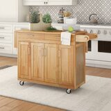 Epping Kitchen Cart with Wood Top by August Grove®