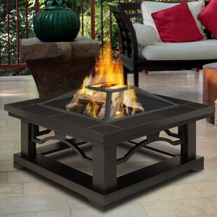 Real Flame Crestone Steel Wood Burning Fire Pit Table