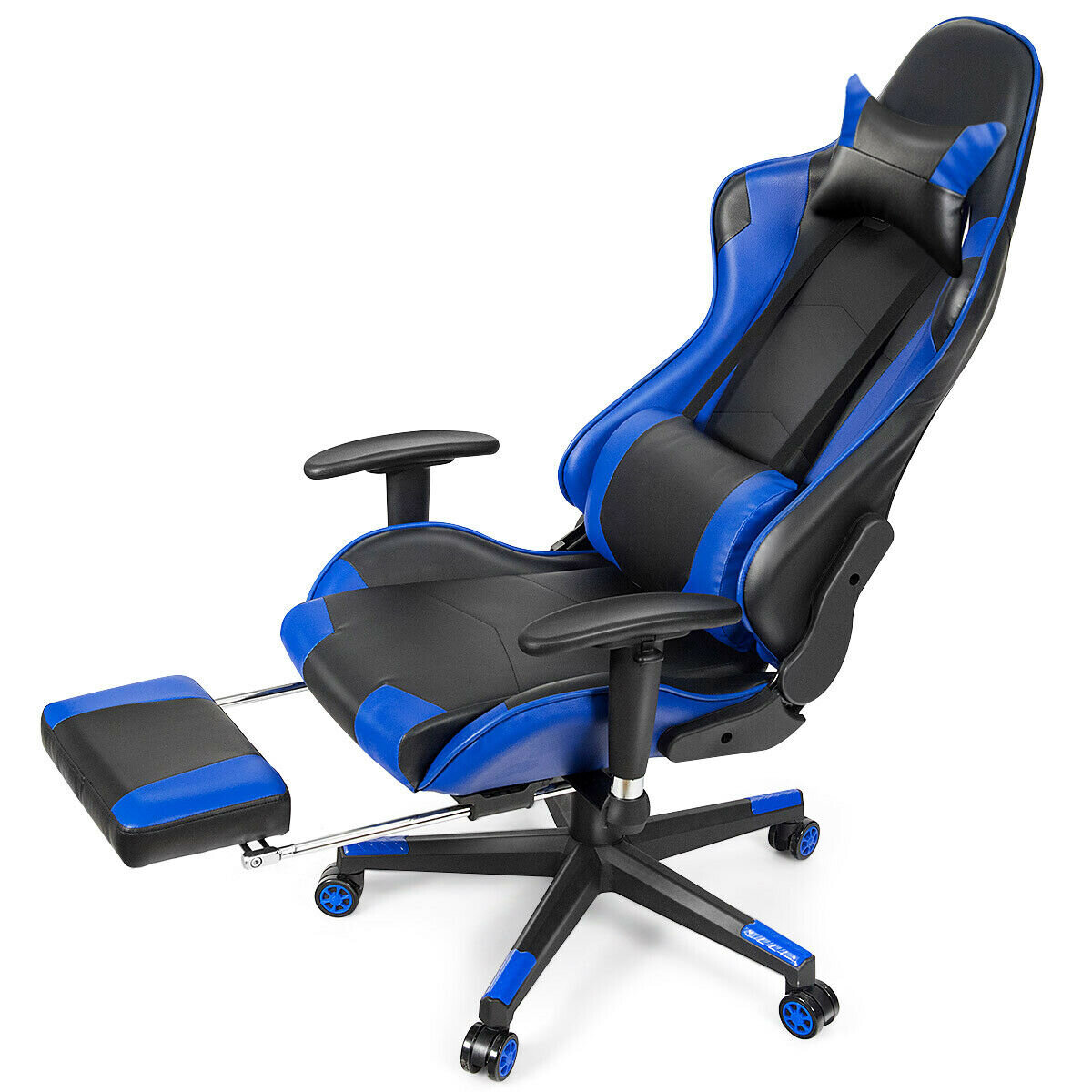 FORCLOVER Massage Gaming Chair Reclining Racing Office Chair-Blue