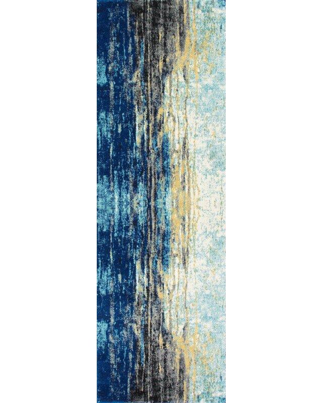 Trent Austin Design Stevensville Abstract Blue Area Rug