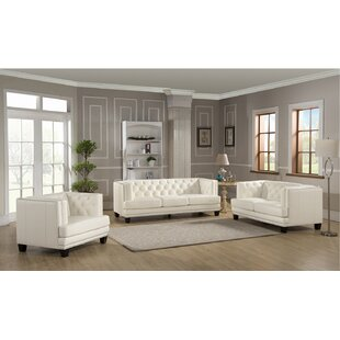 Crewellwalk 3 Piece Leather Living Room Set by Rosdorf Park