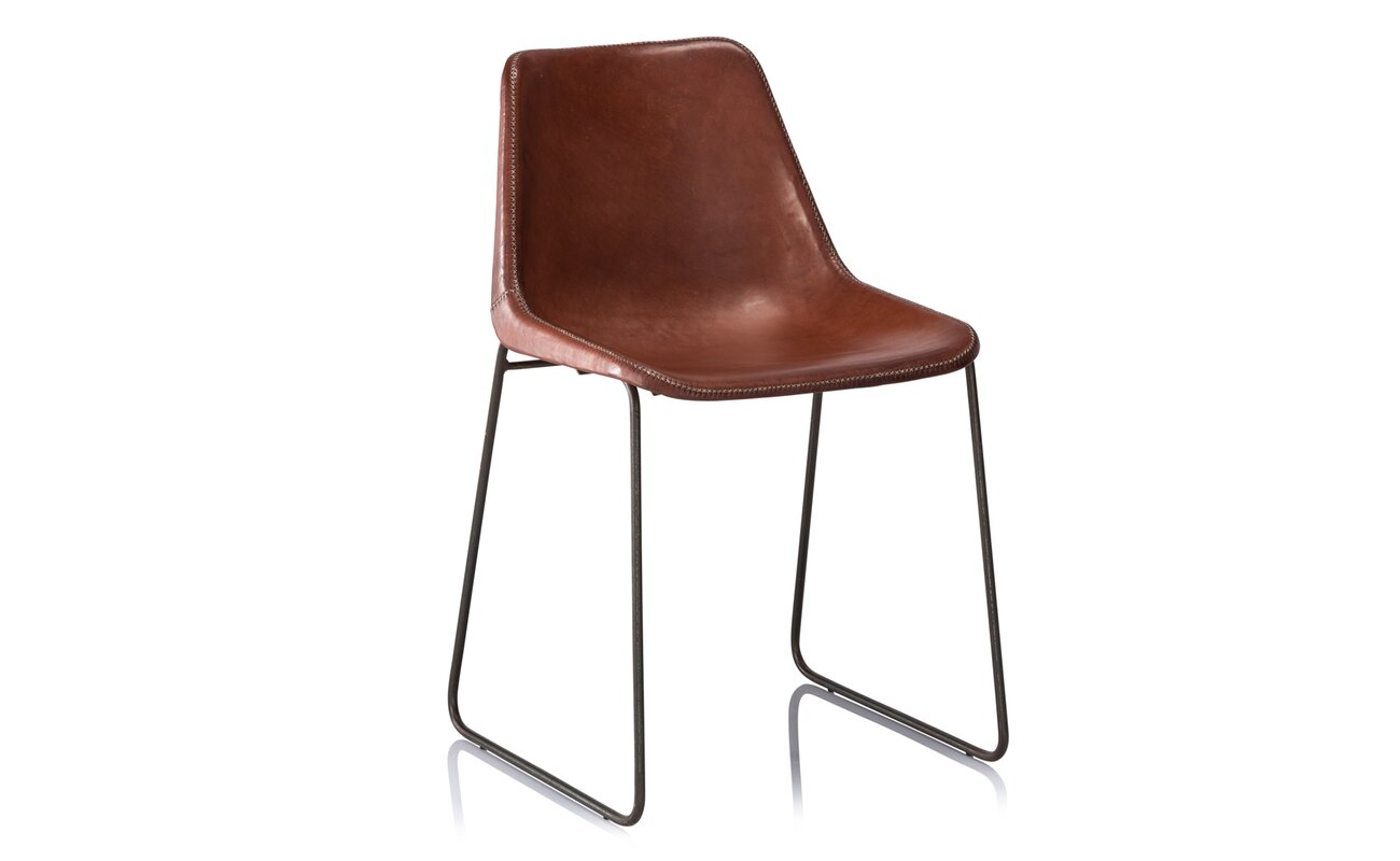 Hudson Genuine Leather Upholstered Dining Chair