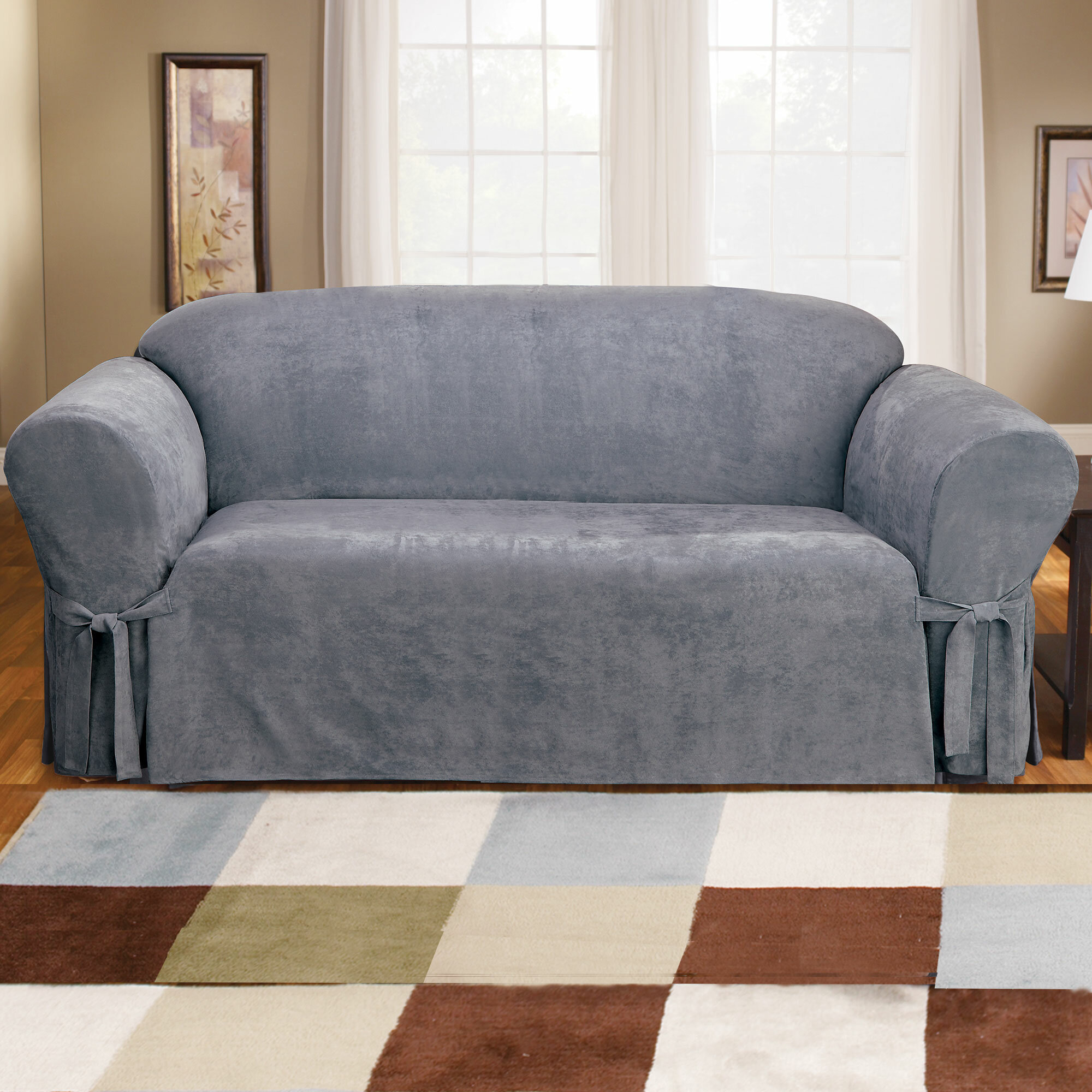 NEW Sure Fit Cozy Twill with Suprelle SOFA  Furniture Cover storm blue