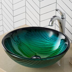 Price comparison Nei Glass Circular Vessel Bathroom Sink By Kraus