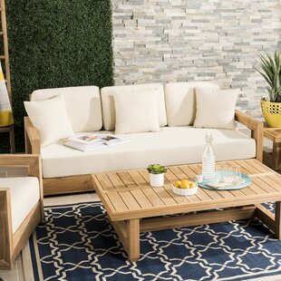 Lakeland Patio Sofa with Cushions by Rosecliff Heights