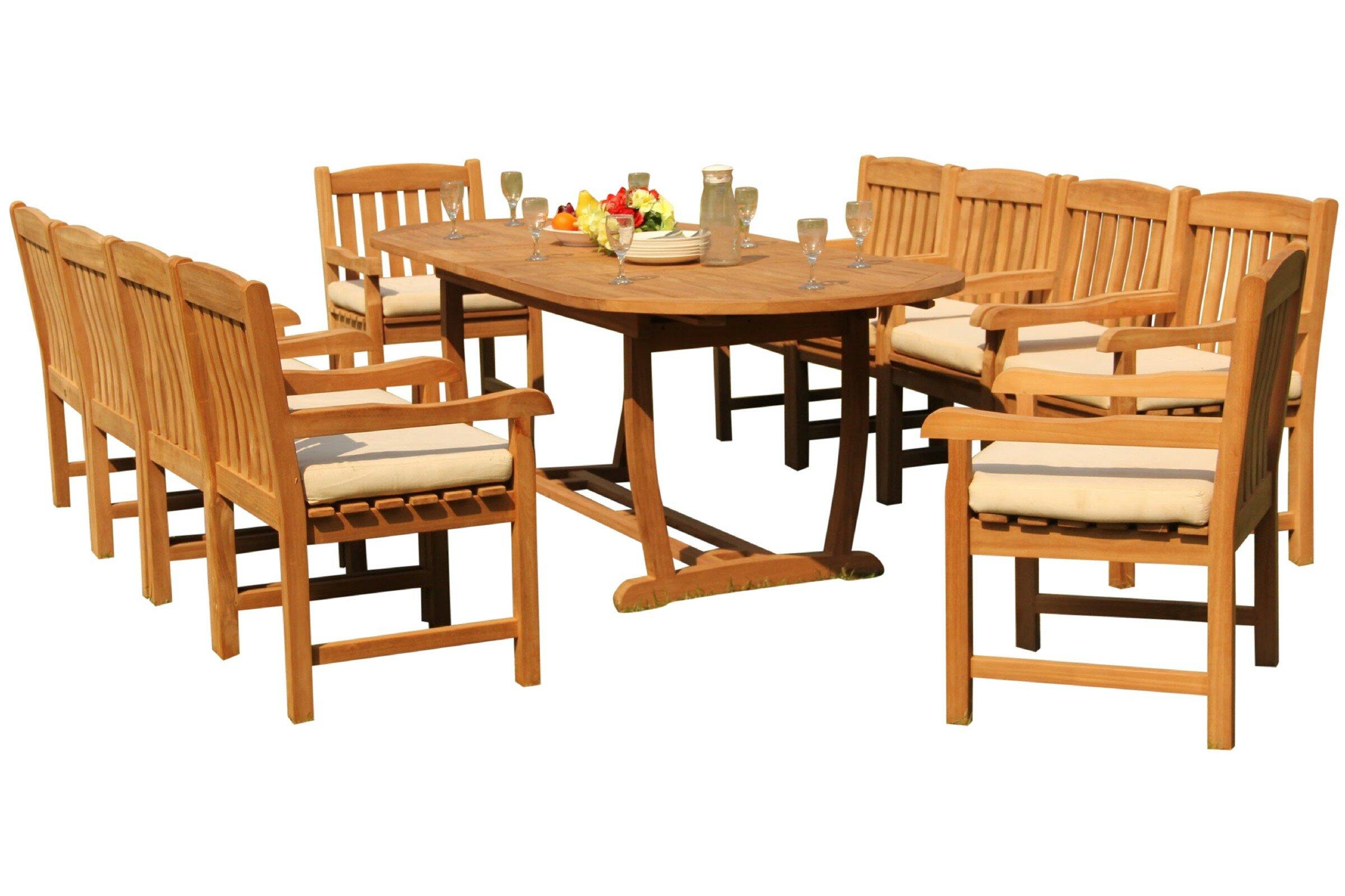 Rosecliff Heights Massenburg 11 Piece Teak Dining Set Wayfair
