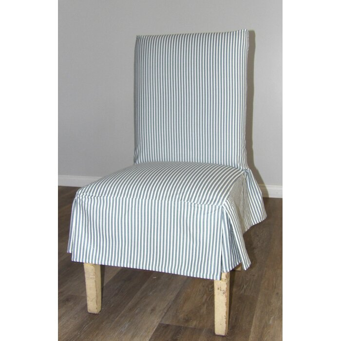 Ticking Stripe Short Box Cushion Dining Chair Slipcover