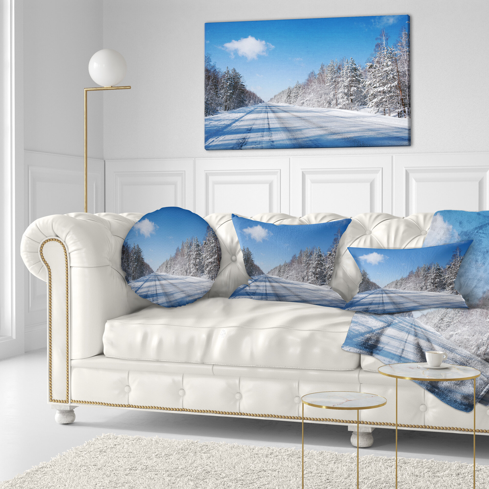 East Urban Home Designart Winter Road Landscape Photography Throw Pillow