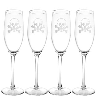 Skull & Cross Bones 8 oz. Crystal Flute (Set of 4)