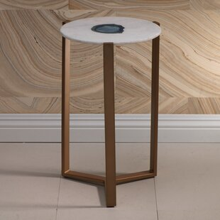 Caspian 20-inch Tall Marble End Table by Zodax