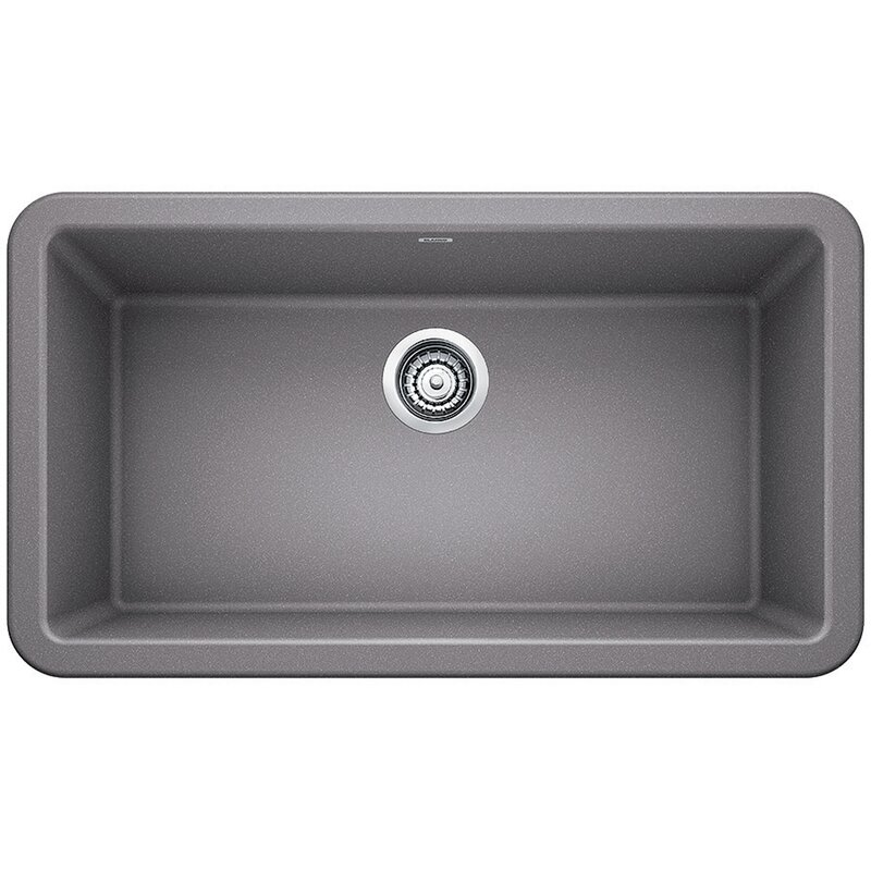 "Blanco Ikon 33"" L x 19"" W Farmhouse/Apron Kitchen Sink  Finish: Metallic Gray"