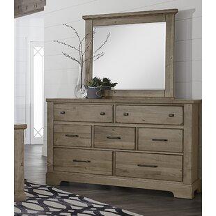 Gracie Oaks Karina 7 Drawer Double Dresser with Mirror