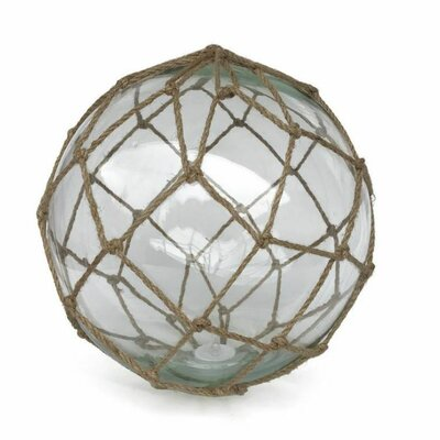 """LED Lighted Japanese Glass Ball Fishing Float Wall Décor Handcrafted Nautical Decor Size: 4"""" H x 4"""" W x 4"""" D, Color: Clear/Brown"""