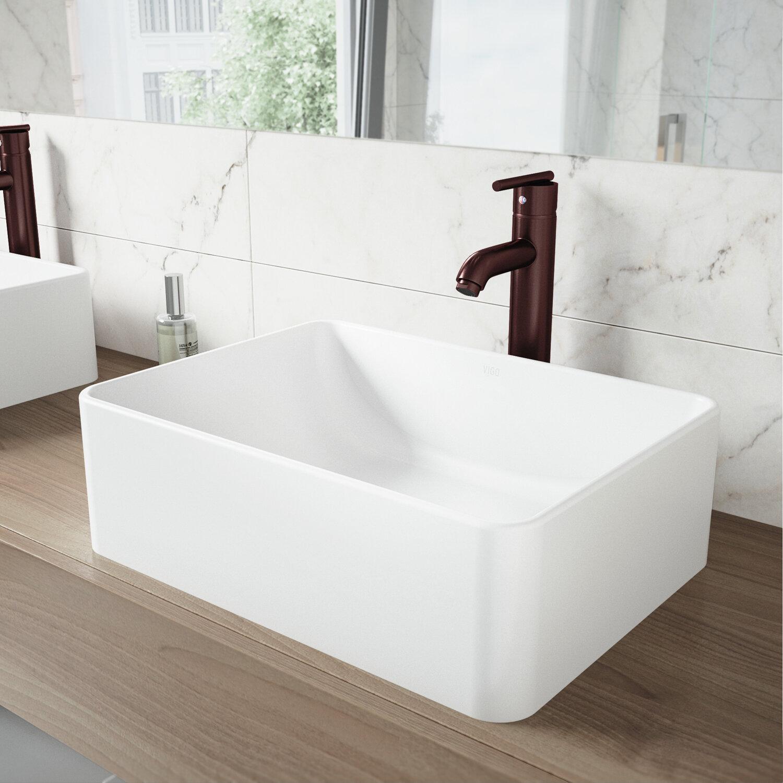 VIGO VIGO Matte Stone Rectangular Vessel Bathroom Sink With Faucet | Wayfair