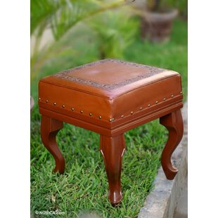 Saugatuck Inca Leather Ottoman by Bloomsbury Market