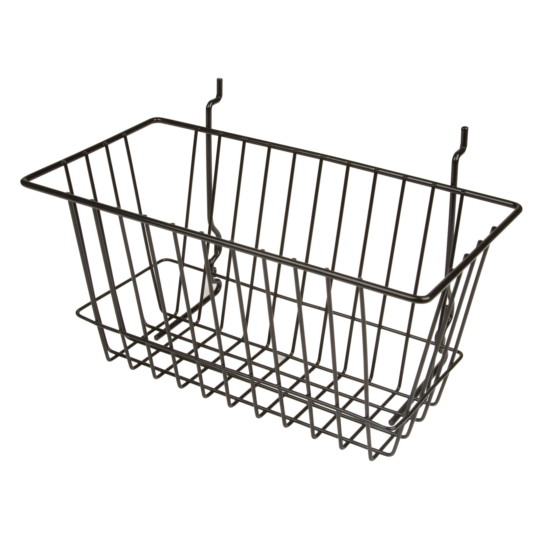 Slatwall and Pegboard Only Hangers Sloped Front Wire Basket For Gridwall White