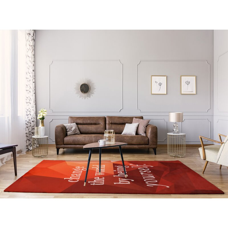 East Urban Home Faux Gemstone Change The World Quote Poly Chenille Rug Wayfair