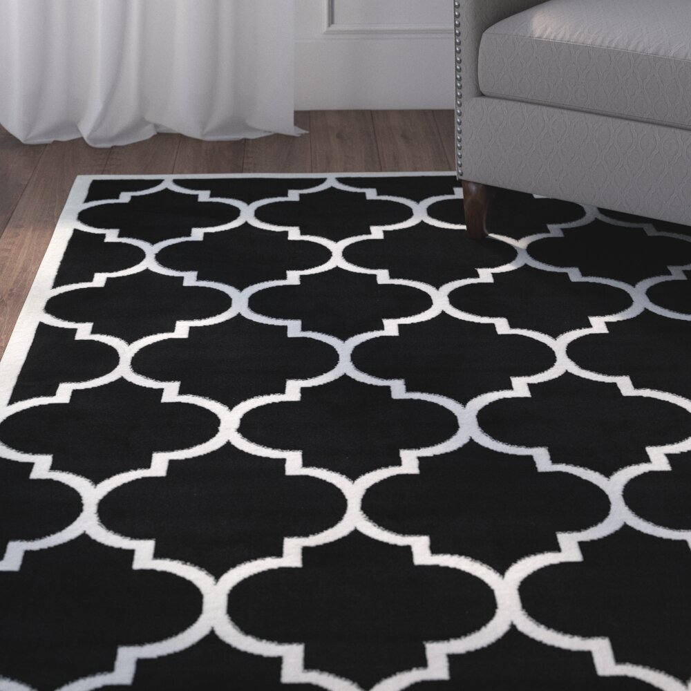 Charlton Home Standridge Moroccan Trellis Design Black White Area Rug Reviews Wayfair