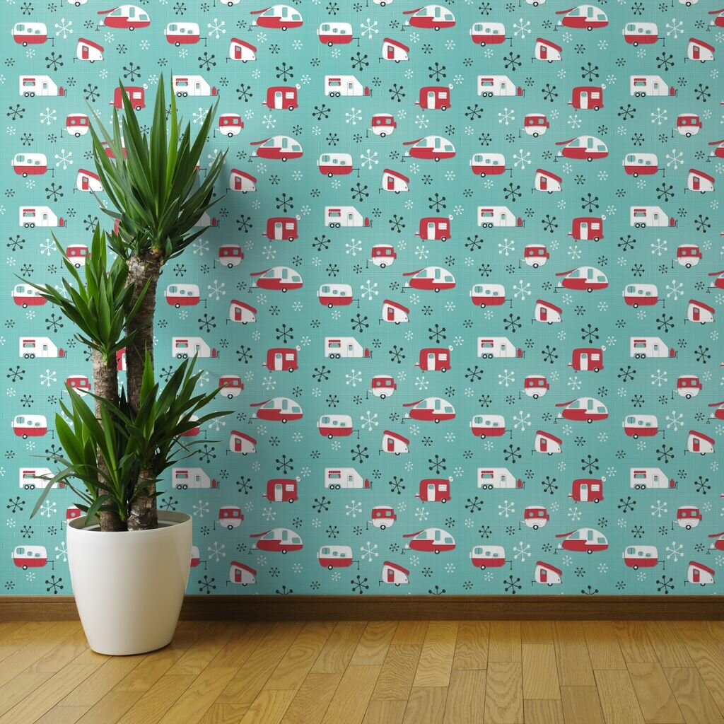 Brayden Studio Sherborne Mod Campers Peel And Stick Wallpaper Roll Wayfair