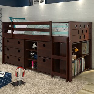 Abey Circles Twin Loft Bed with Storage and Bookcase by