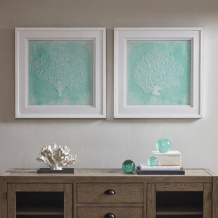 2 Piece Embroidered Coral Wall Décor Set
