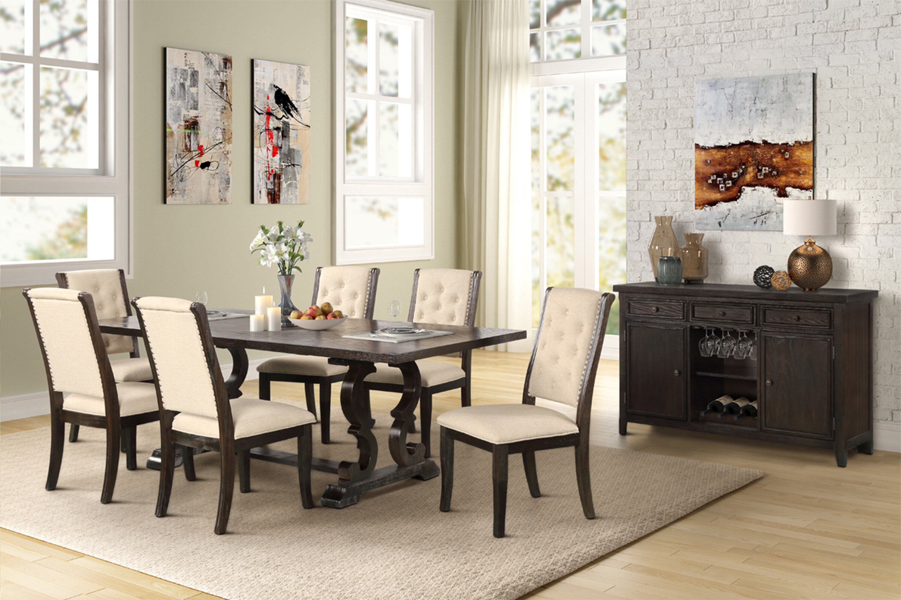 Charlton Home Lindenfield 7 Piece Extendable Solid Wood Dining Set Reviews Wayfair