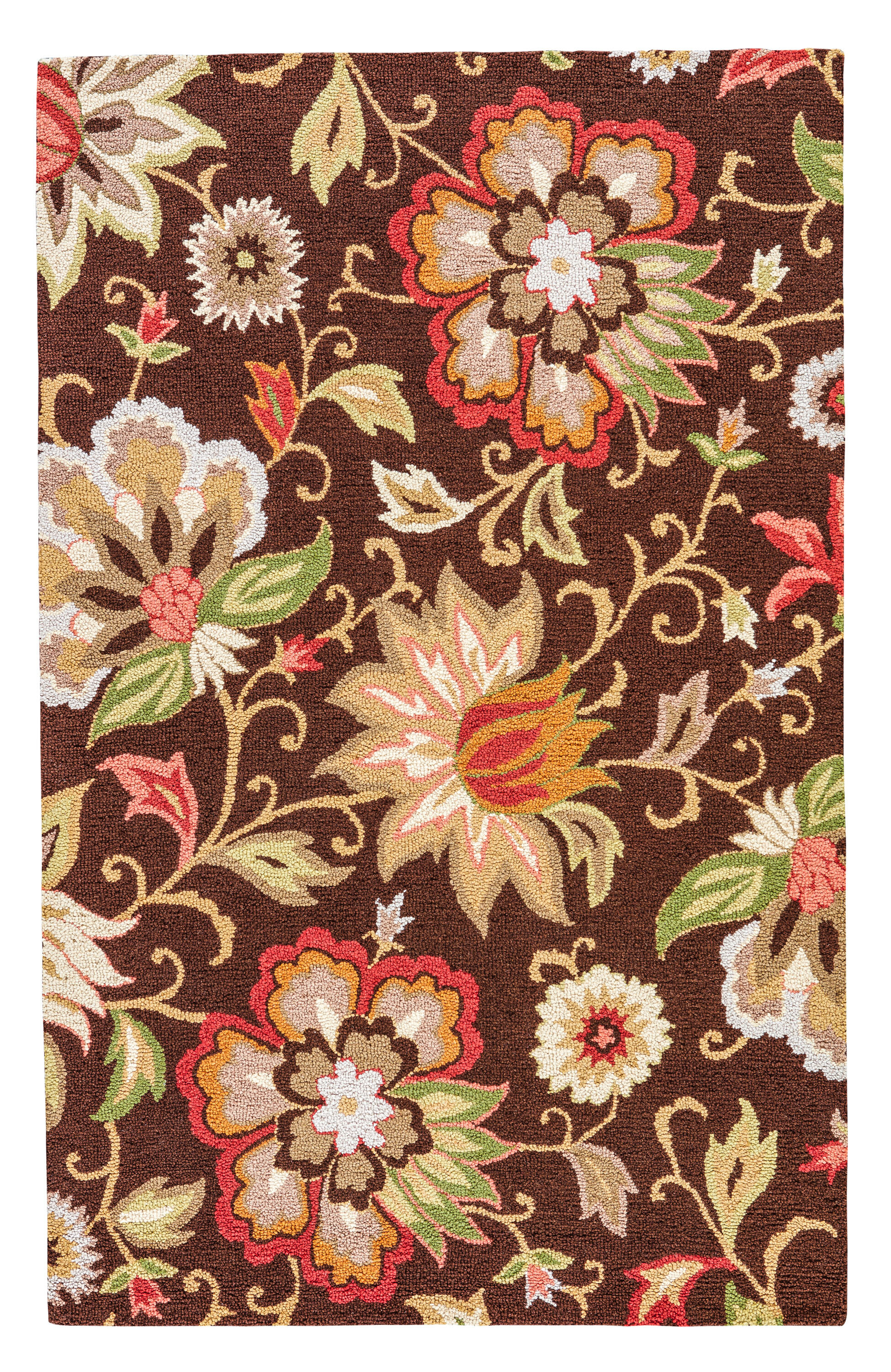 Darby Home Co Dilbeck Floral Handmade Hand Tufted Wool Dark Chocolate Cream Red Green Beige Area Rug Reviews Wayfair
