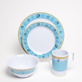 Decorated Offshore Melamine 24 Piece Dinnerware Set, Service for 6