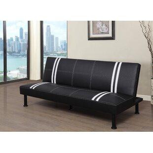 Ebern Designs Goldie Stripe Faux Leather Convertible Sofa