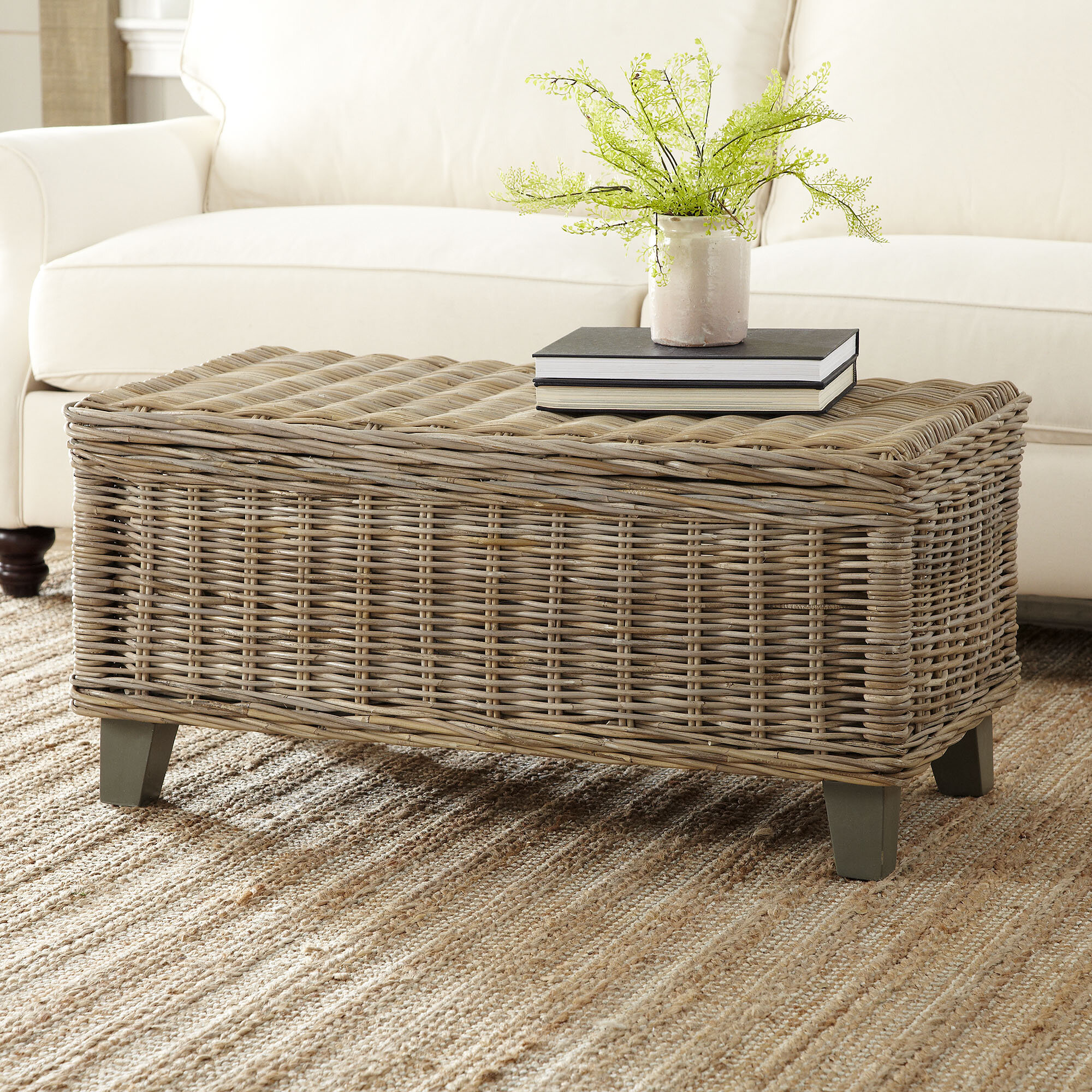 - Rosecliff Heights North Bay Rattan Coffee Table With Storage