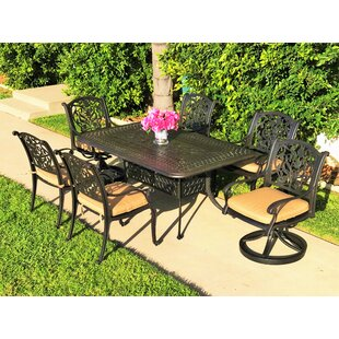 Fleur De Lis Living Camptown 7 Piece Sunbrella Dining Set with Cushions