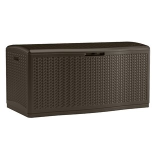 Extra Large Decorative Wicker Pattern 124 Gallon Resin Deck Box by Suncast