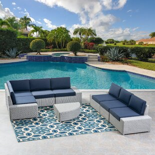 Home Loft Concepts Glendon 7 Piece Rattan Sectional Set with Cushions